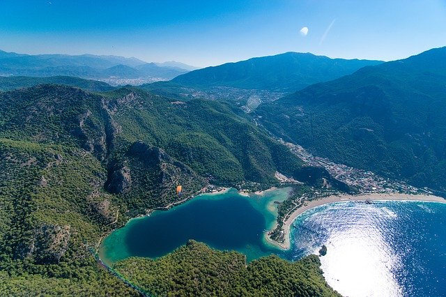 An areal view of the Blue Lagoon in Turkey.